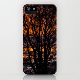 A silhouette of a  large tree cover an orange sunset  iPhone Case