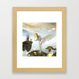 Wonderful fairy  on the rock Framed Art Print