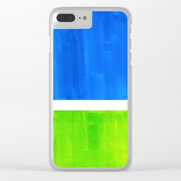 Abstract Minimalist Mid Century Modern Watercolor Geometric Squares Rothko Lime Green Marine Blue Clear iPhone Case