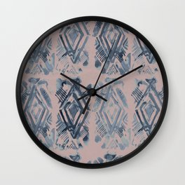 Simply Ikat Ink in Indigo Blue on Clay Pink Wall Clock