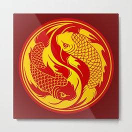 Red and Yellow Yin Yang Koi Fish Metal Print