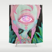 postcard Shower Curtains featuring Postcard from Venus by lOll3