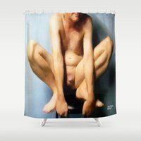 cunt Shower Curtains featuring funny painting ass BDSM fetish Big dick cock suck oral sex pussy cunt transgender anal  anal fuck  by Velveteen Rodent