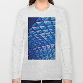 Blue Geometric Pattern Long Sleeve T-shirt