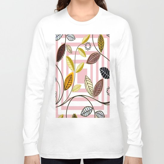 Rose Quartz, Clouds and Plants Long Sleeve T-shirt