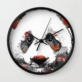 Panda Bear Art - Black White Red - By Sharon Cummings Wall Clock