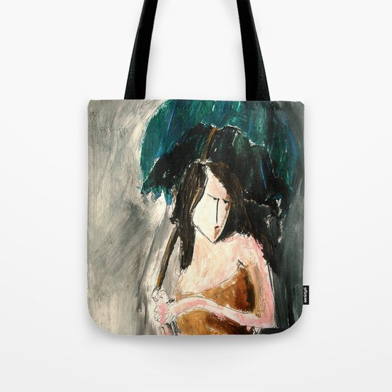 Woman With An Umbrella Tote Bag