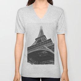 Eiffel Tower (Black and White) Unisex V-Neck