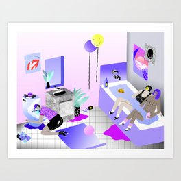 Bathroom Party Art Print