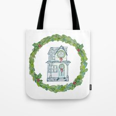 Winter wishes house and boxwood holiday wreath Tote Bag