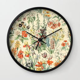 Wildflower Diagram // Fleurs II by Adolphe Millot 19th Century Science Textbook Artwork Wall Clock