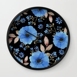 Blue flowers with black Wall Clock
