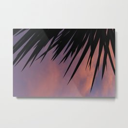 Palm Silhouette at Sunset Metal Print