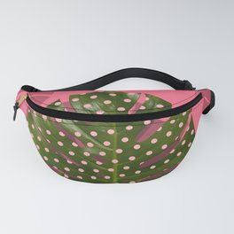 """Moss green leaf and pink flamenco polka dots"" Fanny Pack"