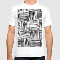 Modern Square Black on White MEDIUM Mens Fitted Tee White