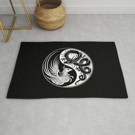 White and Black Dragon Phoenix Yin Yang Rug