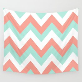 MINT & CORAL CHEVRON Wall Tapestry