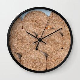 Fox on a haystack Wall Clock