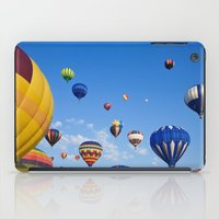 hot air balloons iPad Cases featuring Vibrant Hot Air Balloons by Nicolas Raymond