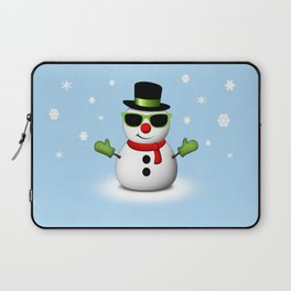 Cool Snowman with Shades and Adorable Smirk Laptop Sleeve