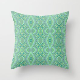 Green and Blue Composition Watercolor Throw Pillow