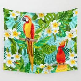 Tropical Parrot Chillin Wall Tapestry
