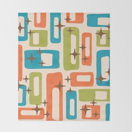 Retro Mid Century Modern Abstract Pattern 921 Orange Chartreuse Turquoise Throw Blanket