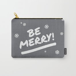 Charcoal Gray Be Merry Christmas Snowflakes Carry-All Pouch