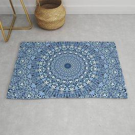 Light Blue Floral Mandala Rug