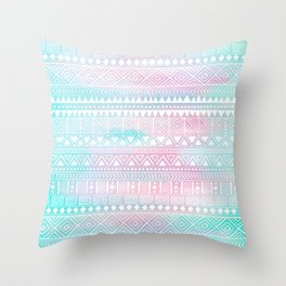 Hand Drawn African Patterns - Pastel Pink & Turquoise Throw Pillow