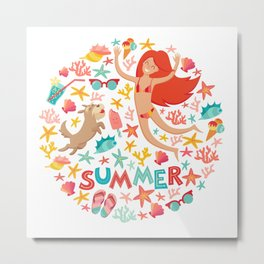 Summertime card. Circle cartoon design  with summer icons, girl with a dog and text. Isolated vector Metal Print