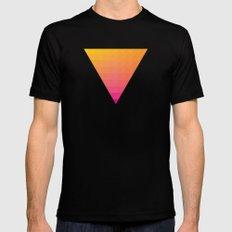 Orange Magenta Triangle Gradient MEDIUM Mens Fitted Tee Black