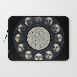 the moon's cycle and lines and dots Laptop Sleeve