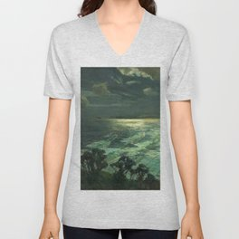 Midnight Moonlight, St Ives' Bay nautical coastal landscape painting by Julius Olsson Unisex V-Neck
