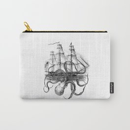 Octopus Attacks Ship on White Background Carry-All Pouch