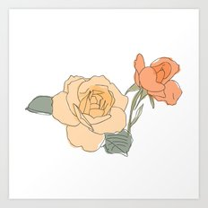 Handdrawn Roses Art Print