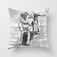 lab Throw Pillows featuring lab by Jenn Steffey