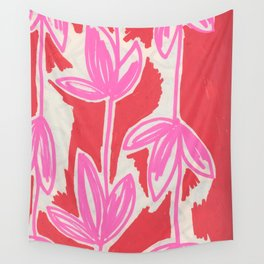 Red and Pink Sketchbook Botanical Wall Tapestry