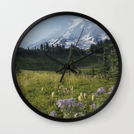 Wildflowers and Mount Rainier Wall Clock