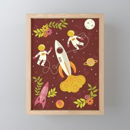 Astronauts in Space with Florals - Maroon Framed Mini Art Print