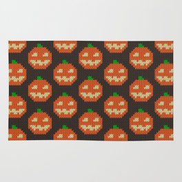 Knitted pumpkin pattern - dark Rug