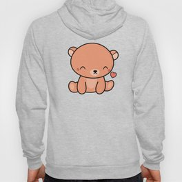 Kawaii Cute Brown Bear With Heart Hoody