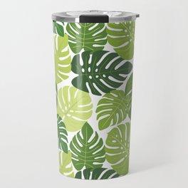 Monstera Leaves Pattern (white background) Travel Mug