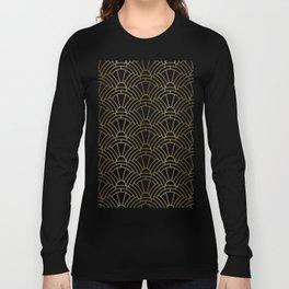 Gold and white geometric Art Deco pattern Long Sleeve T-shirt