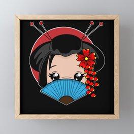 Japanese beauty with farn hair accessories japan Framed Mini Art Print