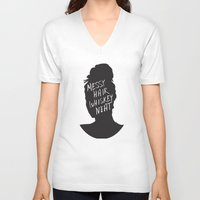 whisky V-neck T-shirts featuring Messy Hair, Whisky Neat by Sarah Marie Design Studio