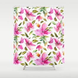 Pink flowers. Watercolor lovely florals. Shower Curtain