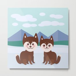 Kawaii funny brown husky dog, face with large eyes and pink cheeks, boy and girl, mountain landscape Metal Print