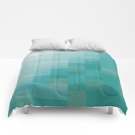 SAM SQWATCH | squares, pixels, turquoise Comforters