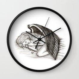A sleeping Angel , Black and white Design Wall Clock
